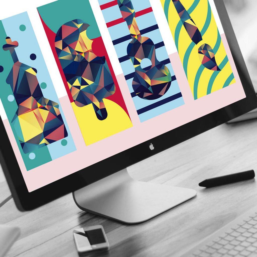 Lezioni di illustrazione grafica durante il corso web & graphic design